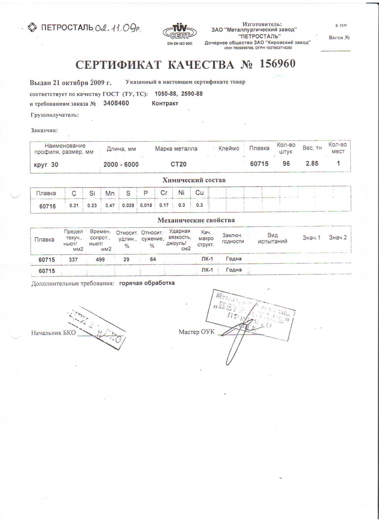Сертификат качества на круг диаметром 20 30 гост 2590-88 скачать сертификат гост 530-80